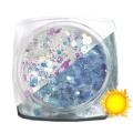 Lentejuelas fotocromáticas Komilfo Mix-002, Blanco/Azul, 2,5 g.