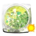 Lentejuelas fotocromáticas Komilfo Mix-005, Amarillo/Verde, 2,5 g.