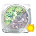 Lentejuelas fotocromáticas Komilfo Mix-008, Verde/Gris, 2,5 g.